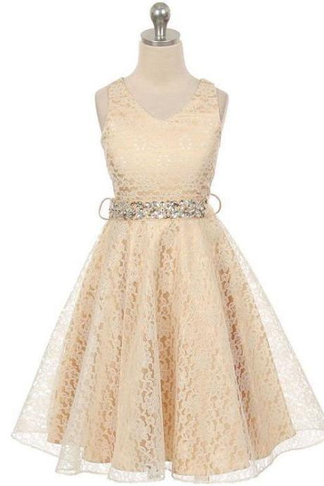 Lace Flower Girls Dress Children Clothing Beaded Party Princess Baby Kids Prom Party Dress Teen Costume champagne