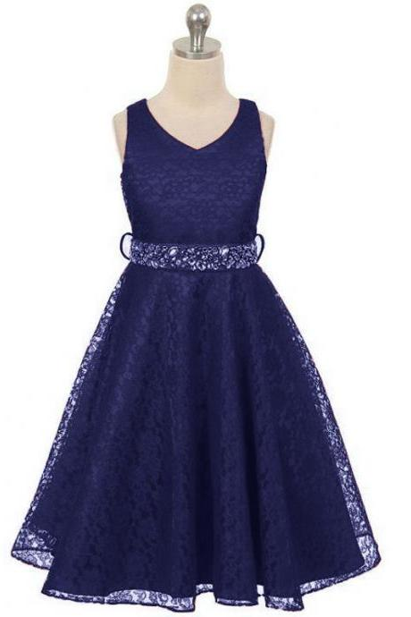 Lace Flower Girls Dress Children Clothing Beaded Party Princess Baby Kids Prom Party Dress Teen Costume navy blue