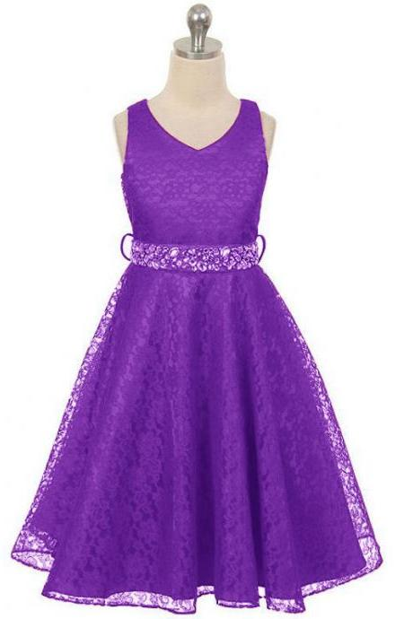 Lace Flower Girls Dress Children Clothing Beaded Party Princess Baby Kids Prom Party Dress Teen Costume purple