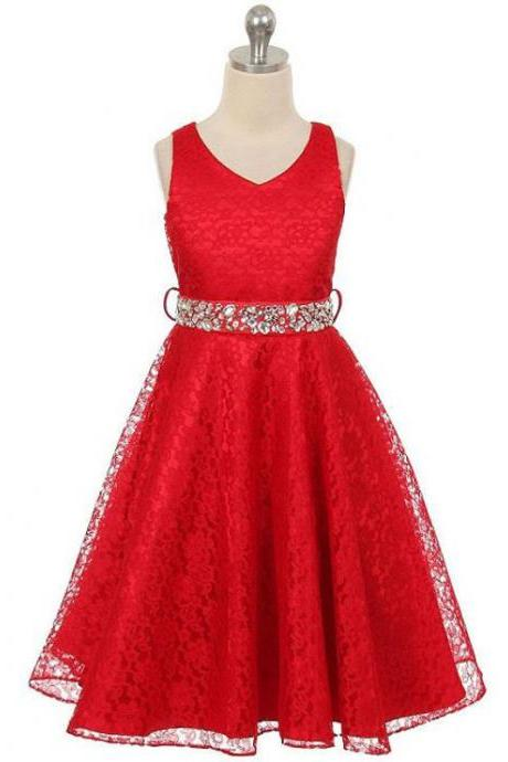 Lace Flower Girls Dress Children Clothing Beaded Party Princess Baby Kids Prom Party Dress Teen Costume red