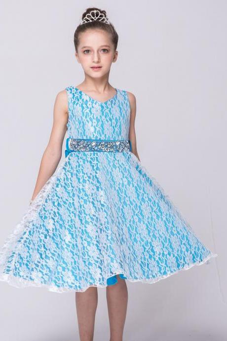 Lace Flower Girls Dress Children Clothing Beaded Party Princess Baby Kids Prom Party Dress Teen Costume sky blue
