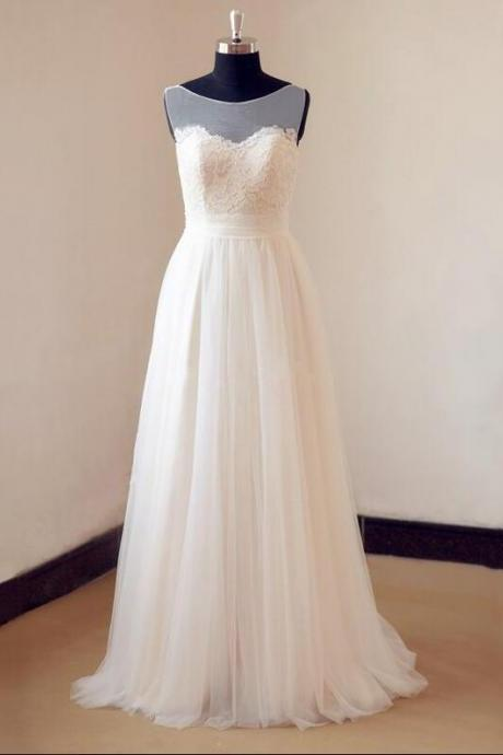 Ivory Wedding Dress, Tulle Lace Wedding Dress with Sheer Neckline ,Cheap Wedding Dress