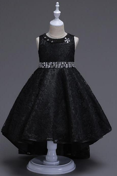 Lace Flower Girls Dress Kids Children Teens Clothes Party Gown Wedding Bridesmaid Asymmetrical Prom Princess Dress black