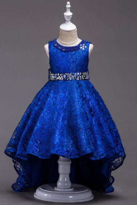 Lace Flower Girls Dress Kids Children Teens Clothes Party Gown Wedding Bridesmaid Asymmetrical Prom Princess Dress blue