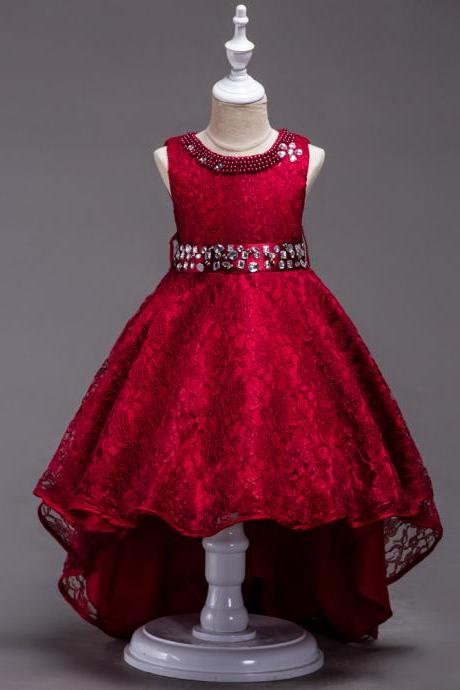 Lace Flower Girls Dress Kids Children Teens Clothes Party Gown Wedding Bridesmaid Asymmetrical Prom Princess Dress dark red