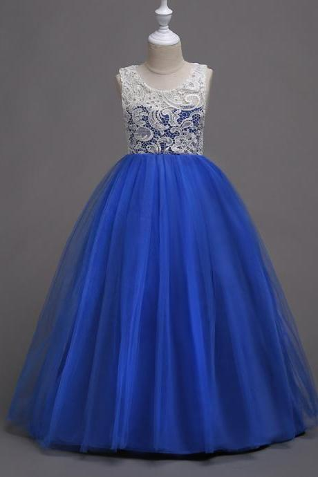 Teens Flower Girls Dress Lace Kids Long Evening Party Prom Wedding Gown Bridesmaid Outfits Children Clothes royal blue