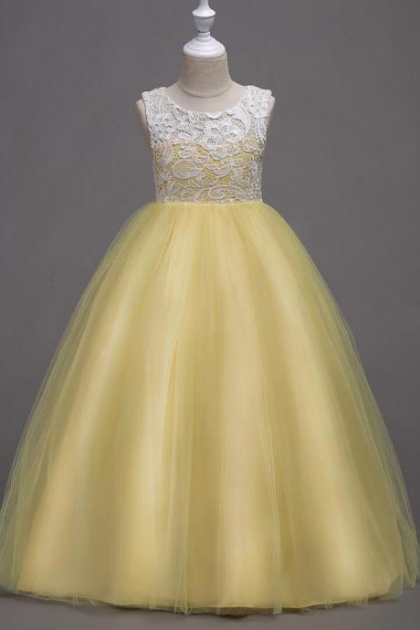 Teens Flower Girls Dress Lace Kids Long Evening Party Prom Wedding Gown Bridesmaid Outfits Children Clothes yellow