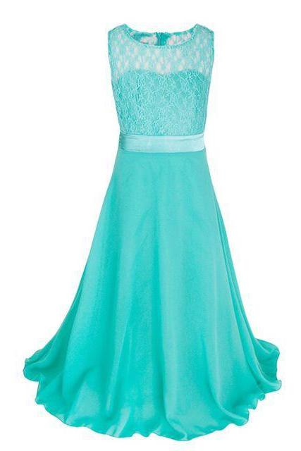 Lace Flower Girls Dress Party Wedding Bridesmaid Floral Kids Clothes Formal Long Maxi Dress aqua