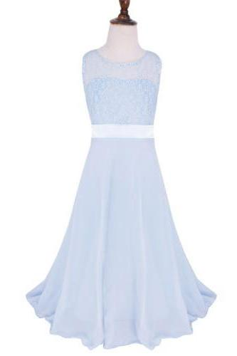 Lace Flower Girls Dress Party Wedding Bridesmaid Floral Kids Clothes Formal Long Maxi Dress baby blue