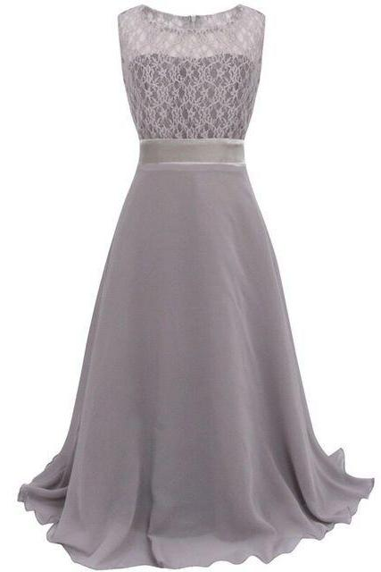 Lace Flower Girls Dress Party Wedding Bridesmaid Floral Kids Clothes Formal Long Maxi Dress gray