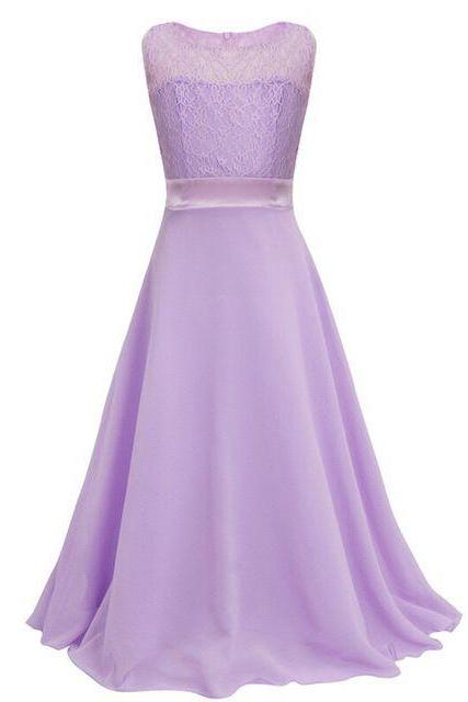 Lace Flower Girls Dress Party Wedding Bridesmaid Floral Kids Clothes Formal Long Maxi Dress lilac