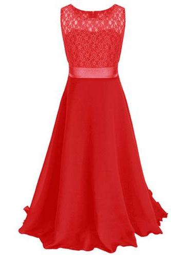 Lace Flower Girls Dress Party Wedding Bridesmaid Floral Kids Clothes Formal Long Maxi Dress red