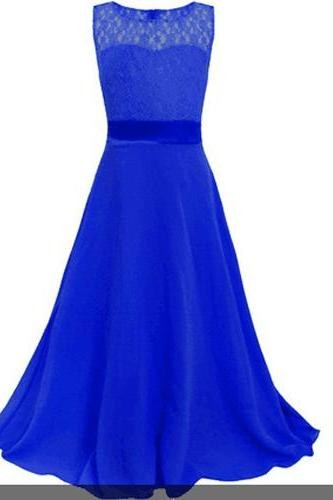 Lace Flower Girls Dress Party Wedding Bridesmaid Floral Kids Clothes Formal Long Maxi Dress royal blue