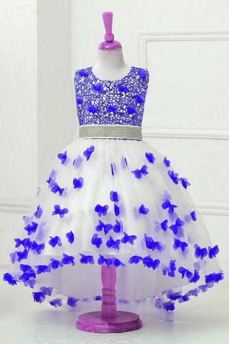 High Low Flower Girl Dress Sequins Trailing Butterfly Wedding Gown Kids Party Prom Children Dress royal blue