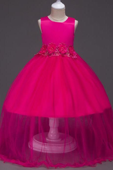 New Baby Girls Prom Party Dress Evening Wear Long Tail Elegant Flower Girl Dress Baby Kids Clothes hot pink