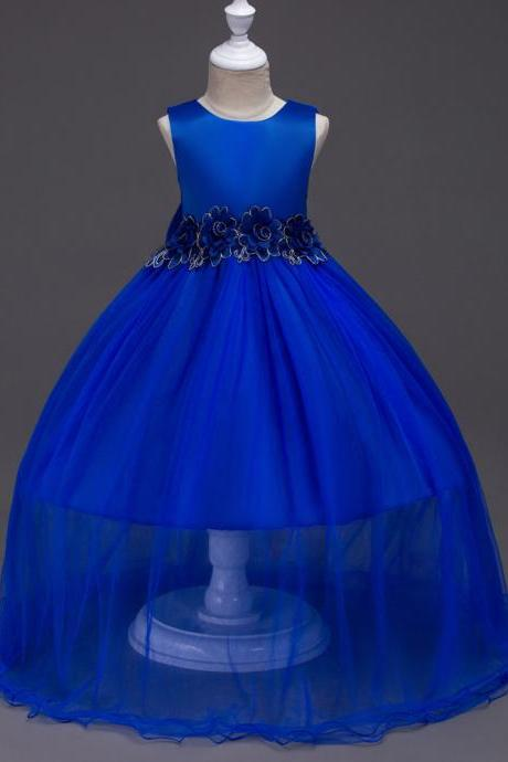 New Baby Girls Prom Party Dress Evening Wear Long Tail Elegant Flower Girl Dress Baby Kids Clothes royal blue