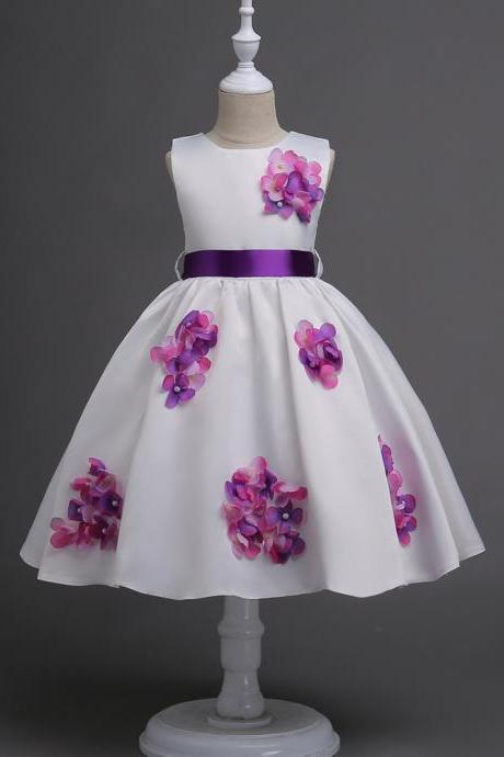 Teen Girls Dress Princess Flower Girl Dress Baby Children Kids Clothes Belted Party Prom Birthday Tutu Dress purple