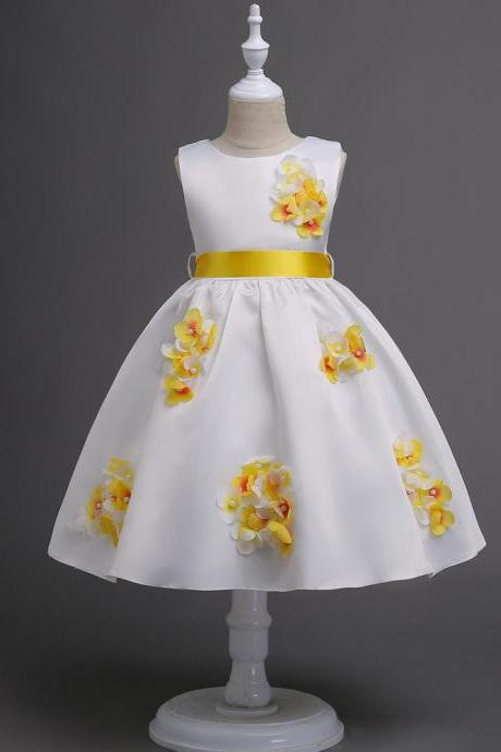 Teen Girls Dress Princess Flower Girl Dress Baby Children Kids Clothes Belted Party Prom Birthday Tutu Dress yellow