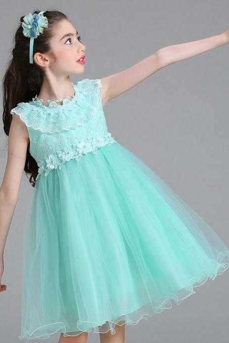 Princess Flower Girl Party Dress Ruffle Lace Wedding Children Kids Formal Prom Tutu Toddler Clothes mint
