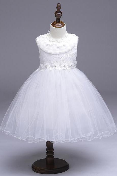 Princess Flower Girl Party Dress Ruffle Lace Wedding Children Kids Formal Prom Tutu Toddler Clothes off white