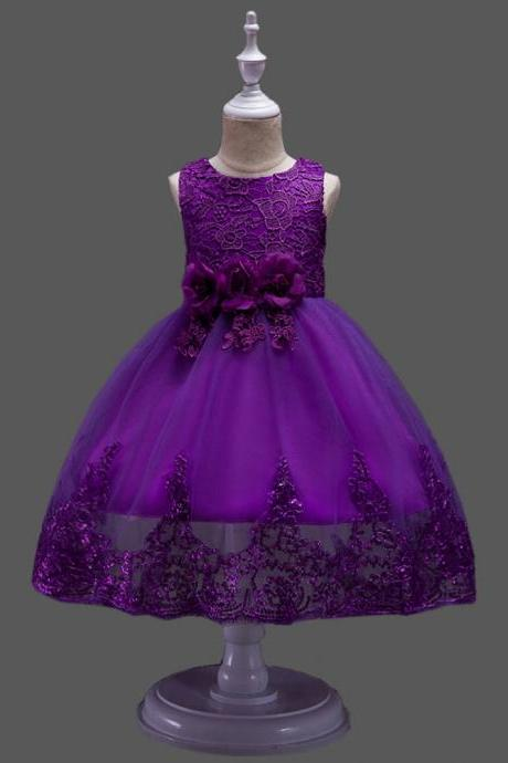 Princess Flower Girl Dress Wedding Party Prom Teens Bridesmaid Kids Clothes Sleeveless Lace Tutu Dress purple