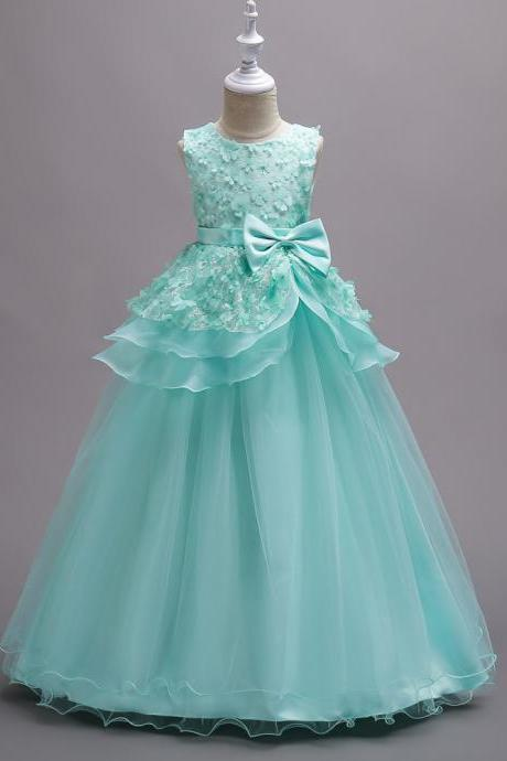 Top Quality Princess Flower Girls Dress Teenager Kids Performance Clothes Layered Long Prom Party Formal Gown aqua