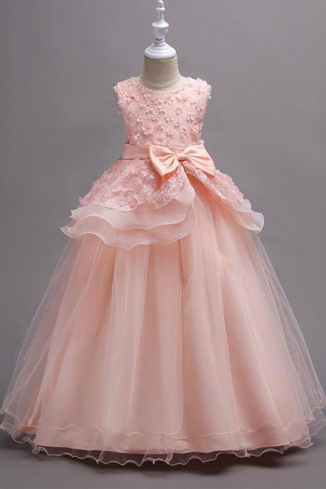 Top Quality Princess Flower Girls Dress Teenager Kids Performance Clothes Layered Long Prom Party Formal Gown pink