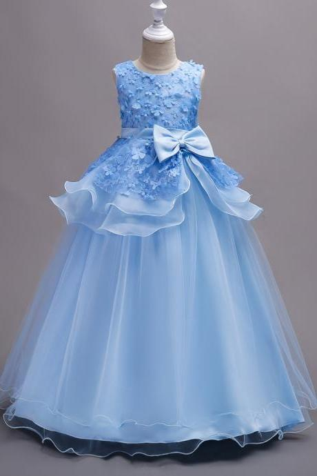 Top Quality Princess Flower Girls Dress Teenager Kids Performance Clothes Layered Long Prom Party Formal Gown sky blue