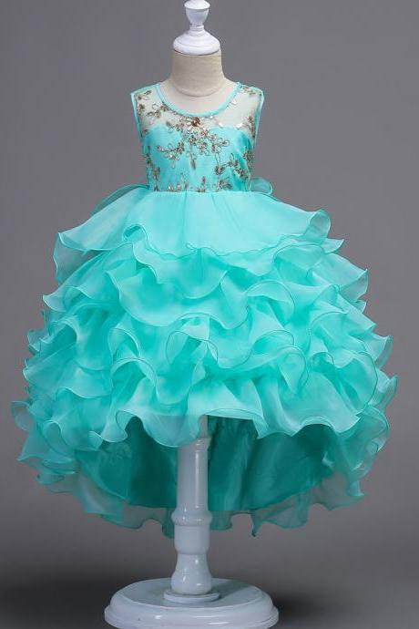 Short Front Long Back High Low Lace Flower Girls Dress Ruffles Junior Kids Tailing Party Pageant Gowns Children Clothes aqua