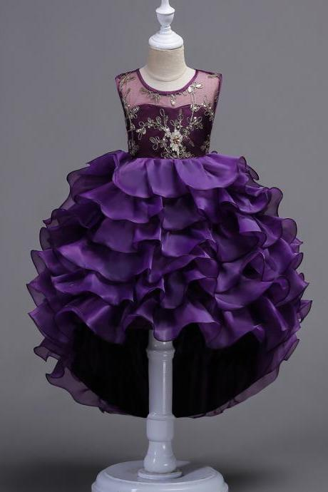 Short Front Long Back High Low Lace Flower Girls Dress Ruffles Junior Kids Tailing Party Pageant Gowns Children Clothes purple