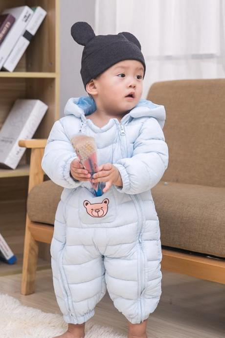 Unisex Boys Girls Coats Snow Wear Infant Toddler Baby Rompers Jumpsuits Hooded Casual Kids Down Coats baby blue