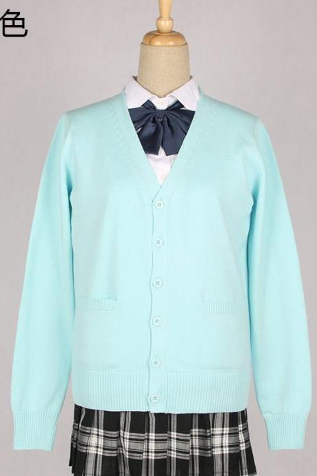Japanese School Harajuku Style JK Uniforms Cardigan Long Sleeve Cotton Women Knited Outerwear Sweater aqua