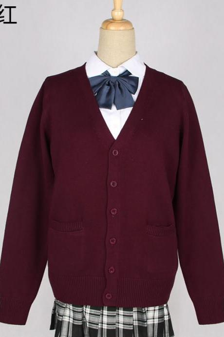 Japanese School Harajuku Style JK Uniforms Cardigan Long Sleeve Cotton Women Knited Outerwear Sweater burgundy