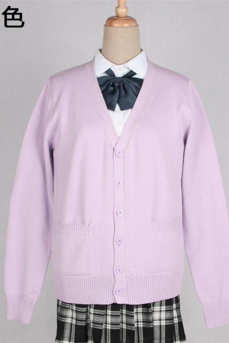 Japanese School Harajuku Style JK Uniforms Cardigan Long Sleeve Cotton Women Knited Outerwear Sweater lilac