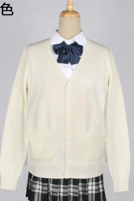 Japanese School Harajuku Style JK Uniforms Cardigan Long Sleeve Cotton Women Knited Outerwear Sweater cream