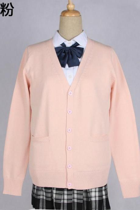 Japanese School Harajuku Style JK Uniforms Cardigan Long Sleeve Cotton Women Knited Outerwear Sweater light pink