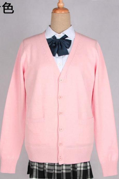 Japanese School Harajuku Style JK Uniforms Cardigan Long Sleeve Cotton Women Knited Outerwear Sweater pink