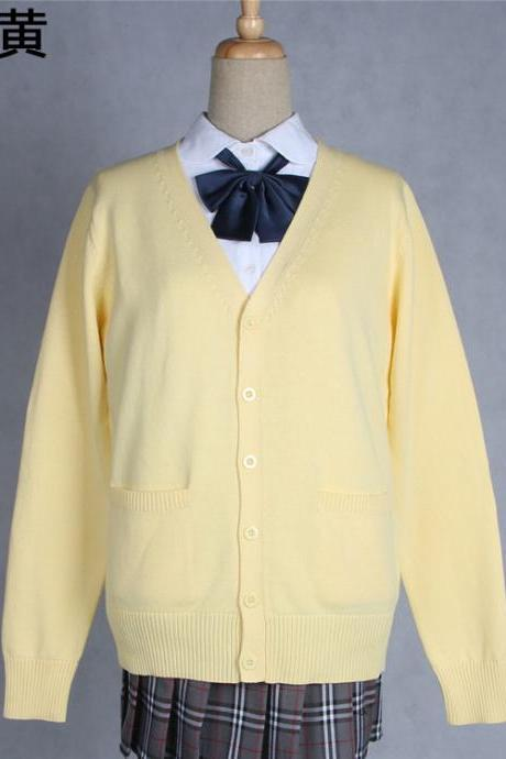 Japanese School Harajuku Style JK Uniforms Cardigan Long Sleeve Cotton Women Knited Outerwear Sweater yellow