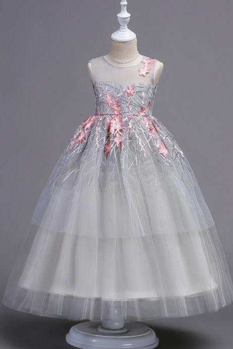 Flower Girls Dress Baby Kids Princess Formal Birthday Pageant Holiday Wedding Bridesmaid Ball Gown Embroidery Teenager Children Clothes pink