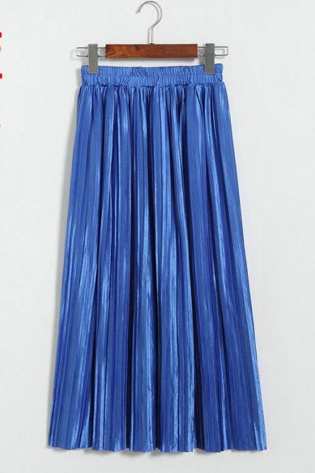 Women Metallic Tutu Midi Skirt Elestic High Waist Log Pleated Skirt Party Club Ladies Saia Fenimias blue