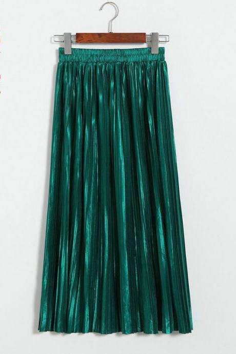 Women Metallic Tutu Midi Skirt Elestic High Waist Log Pleated Skirt Party Club Ladies Saia Fenimias hunter green