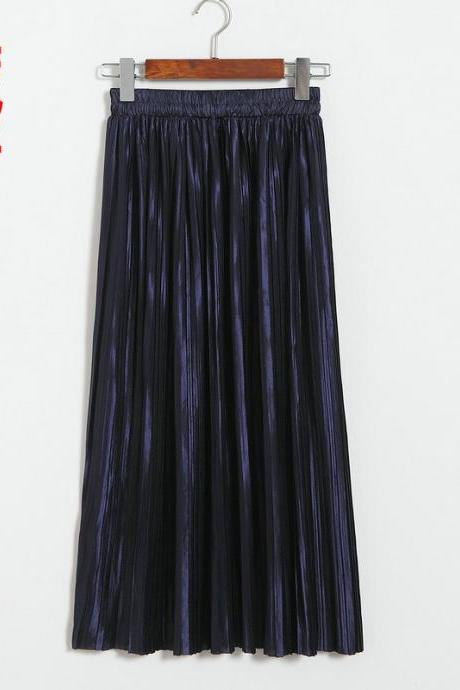 Women Metallic Tutu Midi Skirt Elestic High Waist Log Pleated Skirt Party Club Ladies Saia Fenimias navy blue