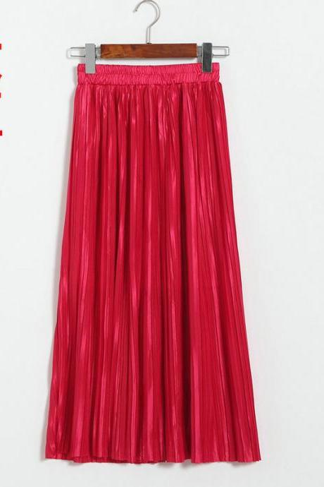Red High Rise Pleated Midi A-Line Skirt