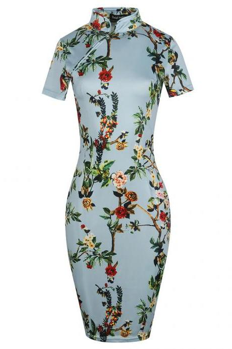 Women Vintage Classic Short Sleeve Zipper Cheongsam Casual Bodycon Sheath Floral Print Pencil Dress 8#