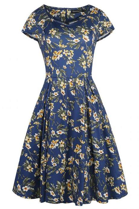 Women Retro Dress V Neck Short Sleeve Floral Print Vintage 50s 60s Rockabilly Party Big Swing Dress 1#