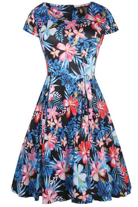 Women Retro Dress V Neck Short Sleeve Floral Print Vintage 50s 60s Rockabilly Party Big Swing Dress 2#