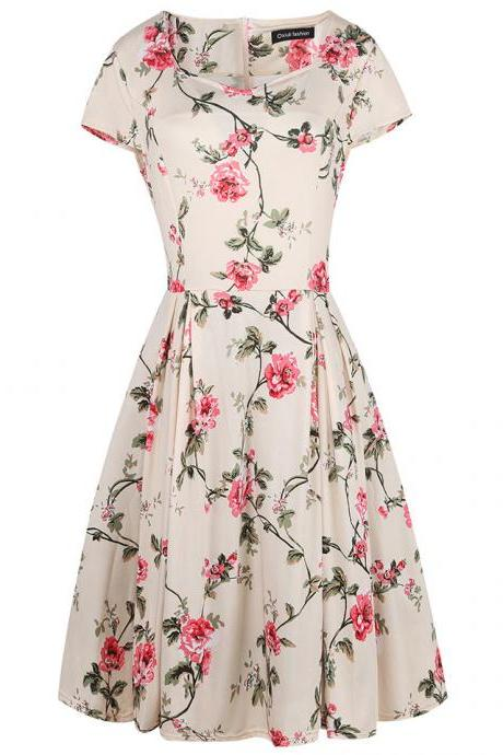 Women Retro Dress V Neck Short Sleeve Floral Print Vintage 50s 60s Rockabilly Party Big Swing Dress 4#