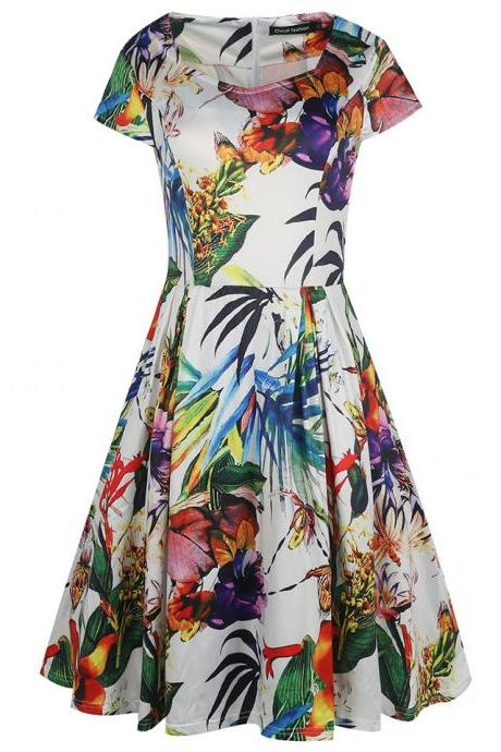 Women Retro Dress V Neck Short Sleeve Floral Print Vintage 50s 60s Rockabilly Party Big Swing Dress 5#