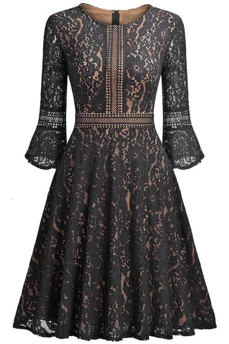 Vintage Floral Lace Dress Casual Women 3/4 Flare Sleeve Short Cocktail Evening Party Wear Big Swing Dress black