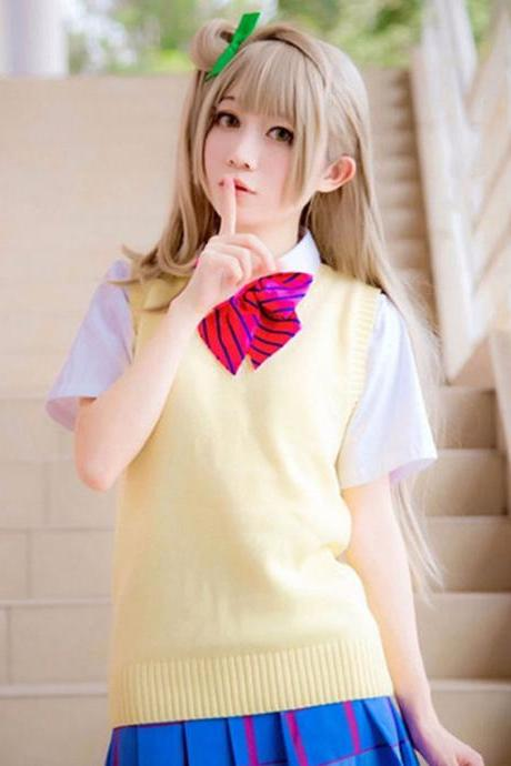 Japanese School Student JK Uniform Vest Girls Sleeveless V-Neck Sailor Knited Sweater Anime Love Live K-on Cosplay yellow
